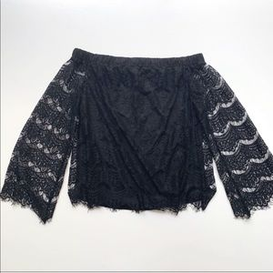 🌿love, Fire Black Lace Off-Shoulder Blouse